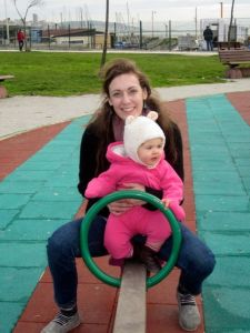 It was fun to have a  friend visiting on Ellie's birthday. We took her to the park and introduced her to the see-saw.