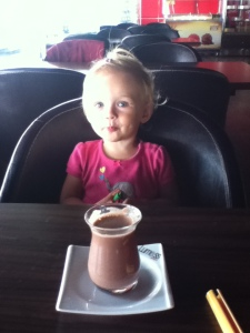 Her first hot chocolate. As  you can imagine, she liked it.