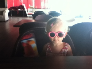 We bought E glasses for $1. She loved them and wanted to wear them all the time, even indoors.